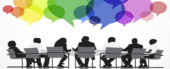 Silhouettes of Business People Meeting with Speech Bubble